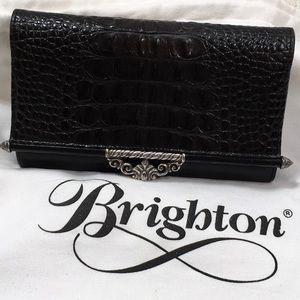 Brighton black leather trifold wallet